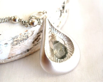 Moss Aquamarine Necklace Teardrop Silver Pisces March Birthday Gift for her Under 45 Boho Chic Vitrine March birthstone