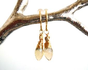 Gold quartz earrings Gold dangles Spring easter Bridesmaid Gift for her Under 50 Vitrine