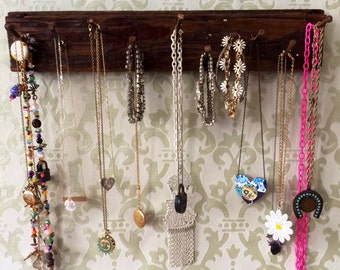 Jewelry Holder Rack made from Vintage Harlem New York Wood Floor and Nails