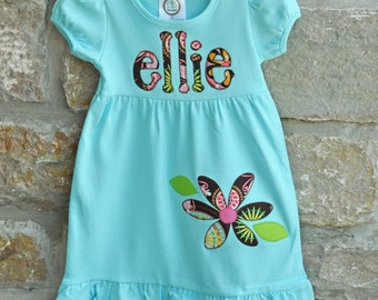 FLOWER FRENZY Back to School -  Monogram Personalized Dress - 12m-10 years  - Julianne Originals