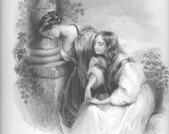 IVY Flowers 'FANNY CORBAUX' Balconey Garden Wall Victorian Women Vintage Antique Steel Plate Engraving Art Print 1800s [inv Beau Flovess 11
