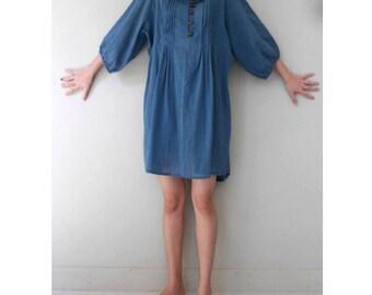 Custom Made Blue Cotton Small Pleats Sweet Women  Blouse Short Summer Tunic Sundress S-L (H )