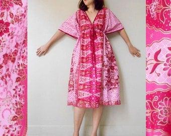 Sale Two Tone Pink Flower Thai Batik Cotton Short Kimono Summer Dress S-L (BT 16)