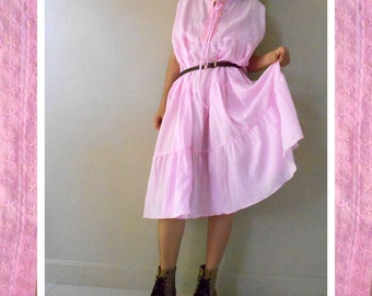 Custom Made Boho pink soft cotton sleeveless loose tunic dress one fit all most (H)