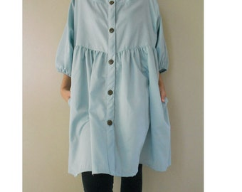Blue  Cotton Sweet Summer Blouse ..dress one fit all (BL01)