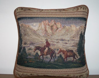 Pack Horse Cowboy Tapestry Throw Pillow Western Southwest Ranch Decor