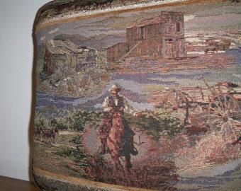 Rustic Western Cowboy Stagecoach Gold Rush Gold Mine Tapestry Pillow