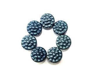 10 Antique vintage blue metal buttons, for buttons jewelry, sewing, knitting, 13mm