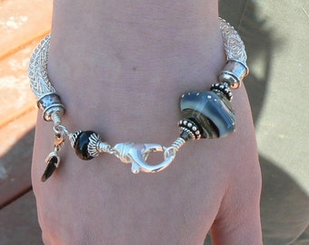 Grey/Black Lampwork with Fine Silver Viking knit Bracelet - made to order - 2 -3 weeks production time