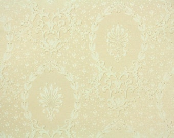 1940s Vintage Wallpaper by the Yard - Cream and White Damask Design