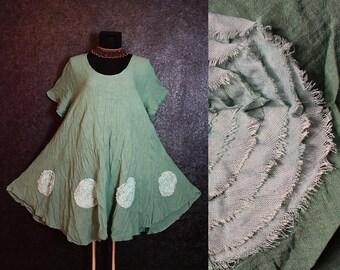 New Romantik Antique Green Short Fairy Pixie Flower DRESS Plus Size 20 22 24 26 2X 3X