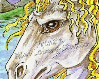 Unicorn white Horse stallion Mustang Fantasy animal ACEO mini Art PRINT Kim Loberg Nebraska Artist ebsq Moon light bay WHOA team