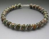 Rainforest Jasper Rhyolite Beaded Sterling Silver Wire Wrapped Bracelet