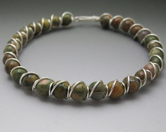 Rainforest Jasper Rhyolite Beaded Sterling Silver Wire Wrapped Bracelet