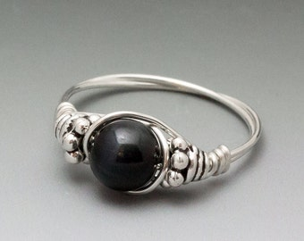 Blue Tigers Eye Bali Sterling Silver Wire Wrapped Bead Ring - Made to Order, Ships Fast!