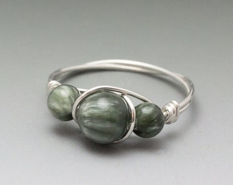 Seraphinite Clinochlore Sterling Silver Wire Wrapped Ring - Made to Order, Ships Fast!