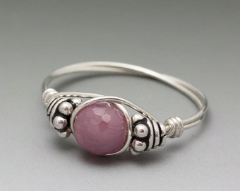 Ruby Corundum Faceted Bali Sterling Silver Wire Wrapped Bead Ring - Made to Order, Ships Fast!