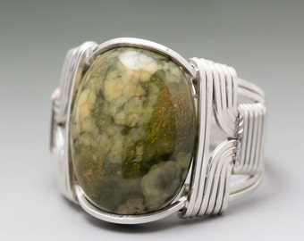 Rainforest Jasper Cabochon Sterling Silver Wire Wrapped Ring ANY size