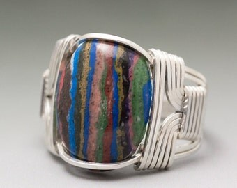 Rainbow Calsilica Cabochon Sterling Silver Wire Wrapped Ring - Made to Order and Ships Fast!
