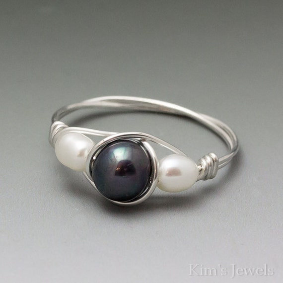 Black & White Pearl Sterling Silver Wire Wrapped Bead Ring - Made to Order, Ships Fast!