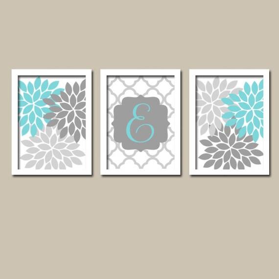Grey Girl Wall Decor : Aqua gray nursery monogram wall art baby girl