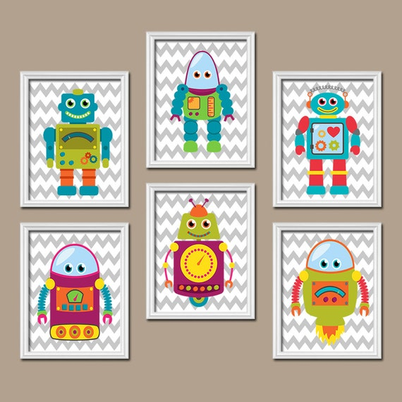 Boy ROBOT Wall Art Baby Boy Bedroom Pictures CANVAS Or Prints Boy