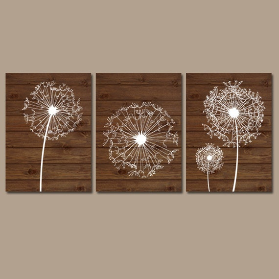 Dandelion wall art wood effect bedroom art bathroom artwork for Wood bathroom wall decor