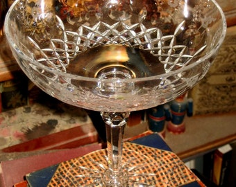Vintage 20's 30's Cut Lead Crystal Glass Compote