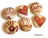 Love Broken Heart gift MAGNETS pin goth macabre blood divorce party favor stocking stuffer halloween relationship valentine wedding shower