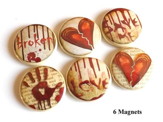 Love Broken Heart emo gift MAGNETS pin goth macabre blood divorce party favor stocking stuffer halloween relationship valentine wedding