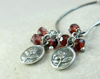 Charm   Earrings        Red Garnet  Jewelry  Oxidized Silver  January   Birthstone Gemstone  Jewelry Flower Cluster Earrings Sterling Silver
