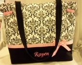 Damask Toile Couture Modern Nappy baby Duffle Diaper bag nappy tote bag choice of 3 sizes personalize choose ribbon color baby shower gift