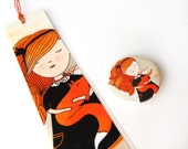 Pack of small badge and bookmark, fox illustration, orange, cute fox gift