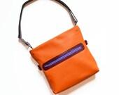 Small Leather Crossbody Bag Women, Foldover Clutch, Shoulder Bag , Adjustable Strap, Crossbody Handbag, The Abby Foldover Satchel in Orange