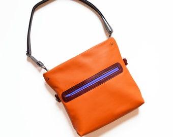 Leather Bag Women / Crossbody Bag / Shoulder Bag / Crossbody Purse / Gift for Her / Convertible Bag - The Abby Satchel in Orange
