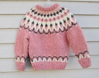 Girls Icelandic Sweater, size 4 to 6, Handmade Pink Wool.