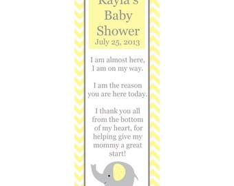 30 Personalized Bookmarks for Baby Shower - ELEPHANT