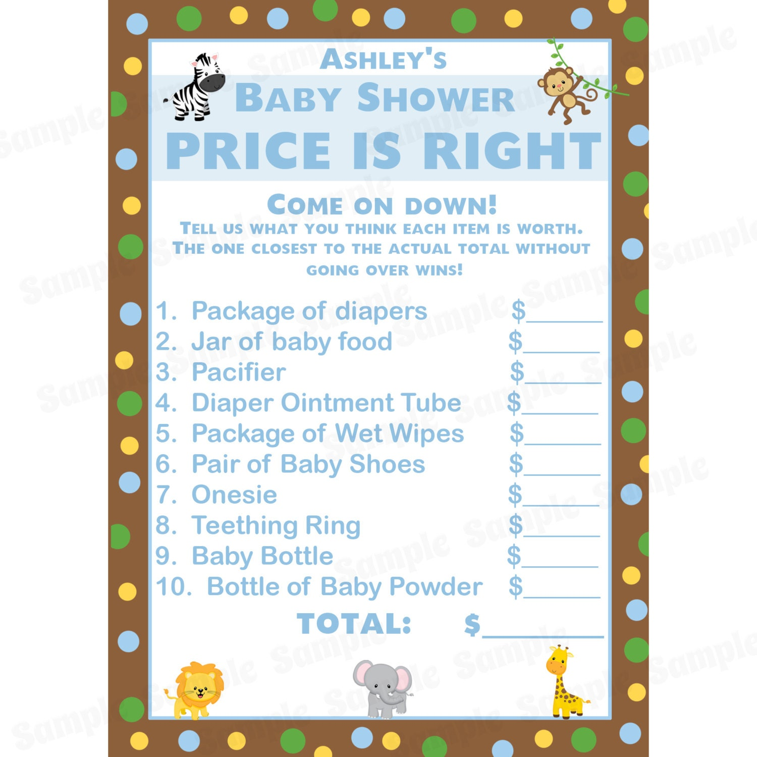 24 personalized baby shower price is right game cards zoo for Price is right bridal shower game template