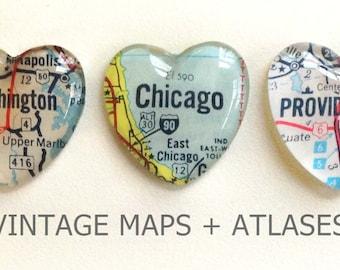 NEW Vintage Map Magnet - Heart Shape - you pick the region