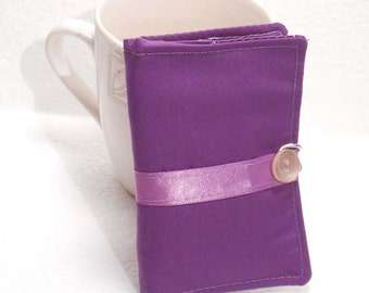 Tea Wallet, Tea Bag Holder, Small Wallet, Business Card Holder - Purple with Purple Ribbon READY MADE