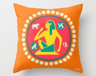 Egyptian Decorative throw pillow cover - Colorful pillow case - Modern design - accent pillows - decorative bed pillows - couch - sofa