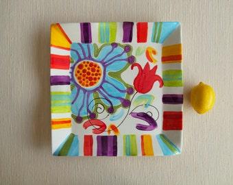 "Bright Floral Serving Platter - Jubilation Large Flareware Platter 14"" - Whimsical Colorful Pottery Serving Happy Floral Home Decor Fun Gift"