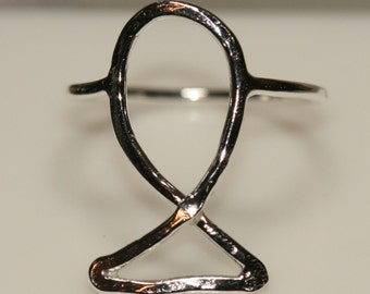Jesus Ichthus Fish Ring Large Fish Fine Silver US Size 8 Handmade by Maggie McMane Designs