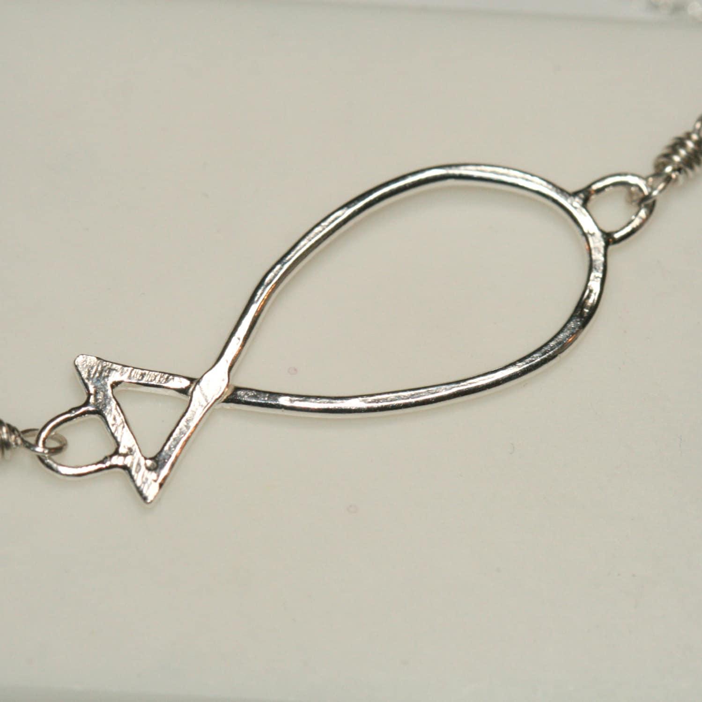 Ichthus necklace fine silver jesus fish necklace faith for Jesus fish necklace