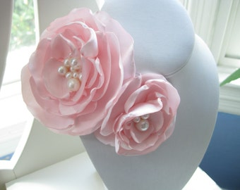 fabric flower brooch - large pale pink blooms with ivory freshwater pearls - Ready To Ship