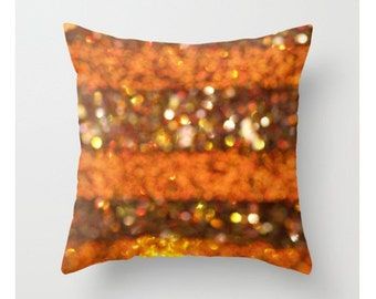 Orange Ombre Pillow Cover Woodland Colors Brown Forest Natural History Home Decor Pillow Cover