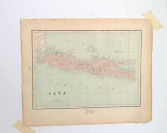 antique double sided map Java and Sumatra 1899