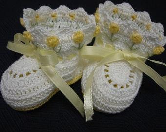 Crochet Booties Baby Girl Yellow Tulip Flowers Newborn or Reborn Doll