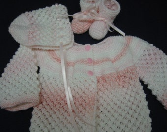 Baby Sweater Set, Hand Knitted Baby Sweater Bonnet Booties, 3-6 months, Shaded Pink Popcorns, Baby Shower Gift, Christening, Baptism