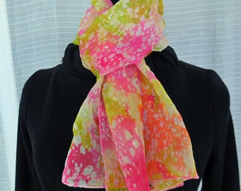 Chiffon Scarf in Summery Shades of Pink and Yellow